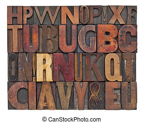 antique wood type letters - random alphabet letters -...
