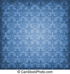 Shaded Blue Damask Background - Vintage blue damask with...