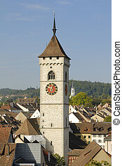 Schaffhausen - view over the old part of town and the tower...