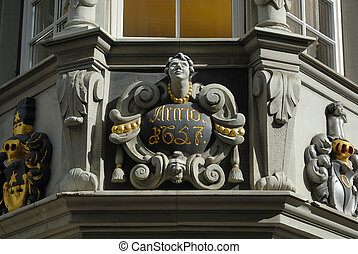 Schaffhausen - detail view from a housefront in old part of...