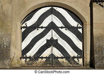 Sigmaringen castle - a wooden door - Baden-Wuerttemberg,...