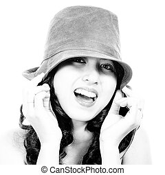 Smiling Fashionable Young Girl Wearing A Hat