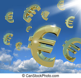 Euro Signs Falling From The Sky As A Sign Of Wealth - Euro...