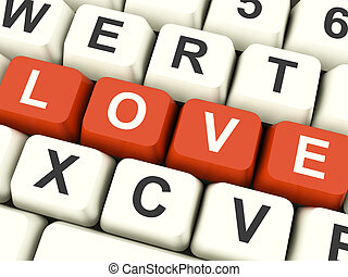 Love Computer Keys Showing Loving And Romance For Valentines