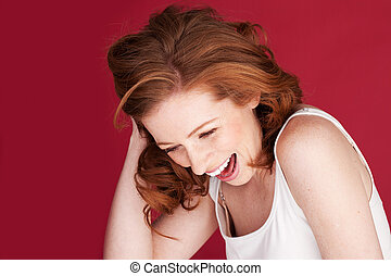 Lovely Sense Of Humour - Attractive redhead woman having a...