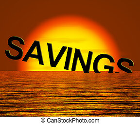 Savings Word Sinking Showing Reduction In Money Or Wealth -...