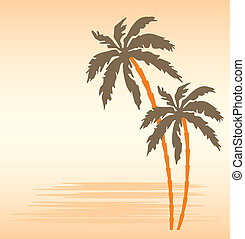 Tropical beach with palm trees - Vector illustration, color...