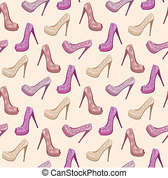 Seamless shoes pattern - Vector illustration, color full