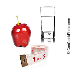 Healthy lifestyle - apple and water