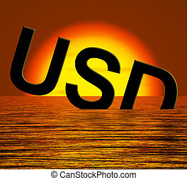 Usd Word Sinking And Sunset Showing Depression Recession And...