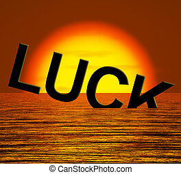 Luck Word Sinking Showing Unlucky And Misfortures