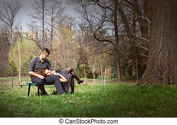 Sensual serene couple on bench