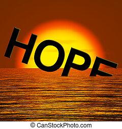 esperança, palavra, afundamento, em, a, mar,...