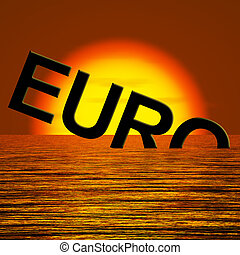 Euro Word Sinking And Sunset Showing Depression Recession...