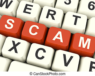 Scam Computer Keys Showing Swindles And Fraud