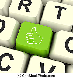 Thumbs Up Computer Key Showing Approval And Being A Fan -...