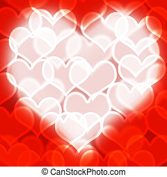 Heart With Red Bokeh Background Showing Love Romance And Valentine
