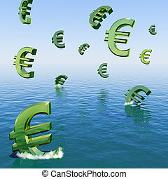 Euros Falling In The Sea Showing Depression Recession And...