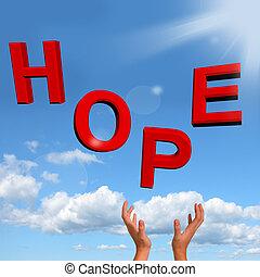 pegando, esperança, letras, como, sinal, de,...
