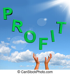 Catching Profit Word Representing Market And Trade Earnings