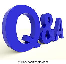q, e, Um, letras, mostrando, perguntas, e, respostas