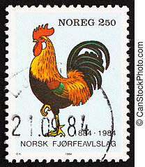 Postage stamp Norway 1984 Rooster - NORWAY - CIRCA 1984: a...