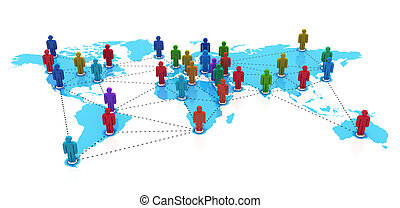 Social network concept: group of color human figures on blue...
