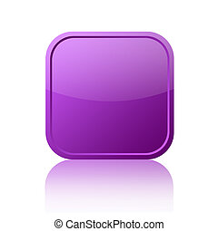 Blank square web button on white background
