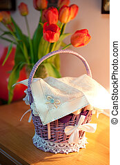 Easter basket before blessing in a church
