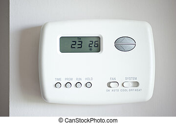 Digital Thermostat set to 26 degrees Celsius