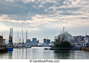 Glasshouse Over the Water and Genoa Port, Italy