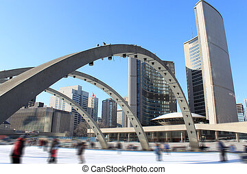 Skaters in Toronto - People skating in downtown Toronto's...