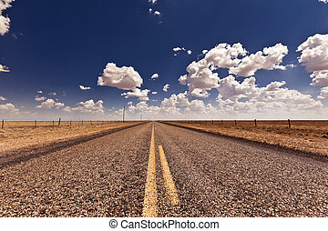 Country road in Texas, USA dirig sunny day