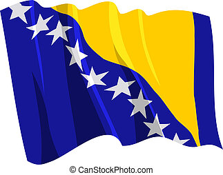 flag of Bosnia and Herzegovina - Political waving flag of...