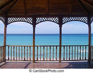 Ocean View - A view of the ocean as seen from a gazebo