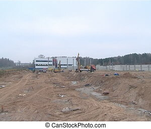 machine drill foundation - Construction site landscape....