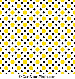 Yellow & Black Polka Dots on White
