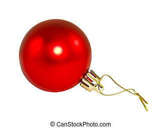Red Christmas ball. - Red Christmas ball isolated on a white...