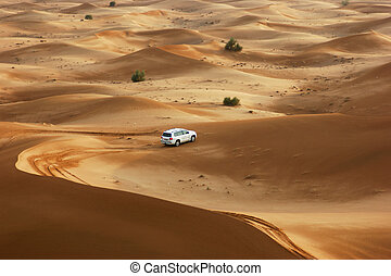 Jeep safari in the sand dunes of the arabian desert in Dubai...