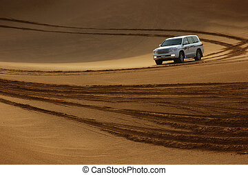 Jeep safari in the sand dunes of the arabian desert in Dubai...