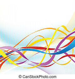 Abstract colorful ribbons flowing on soft blue background. -...