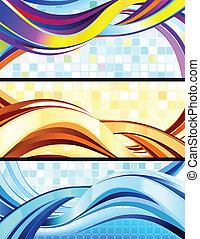 Stylish flowing abstract banners.