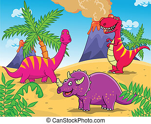 Dinosaur Cartoon - Vector Illustration Of Dinosaur Cartoon