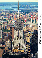 New York City Manhattan aerial view with Chrysler Building...