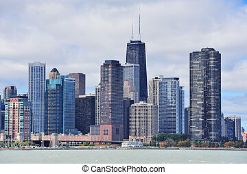Chicago city urban skyline with skyscrapers over Lake...