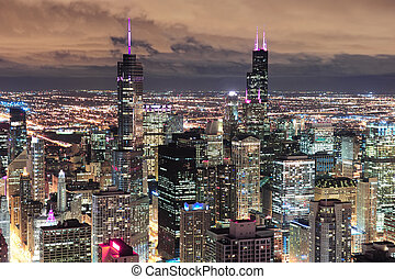 Chicago Urban aerial view at dusk - Chicago urban skyline...
