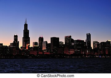 Chicago silhouette - Chicago city urban skyline panorama...