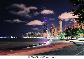 Chicago Lakefront - Chicago city urban skyscraper at night...