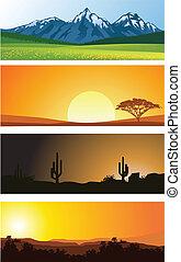 Landscape background - Vector Illustration Of Landscape...