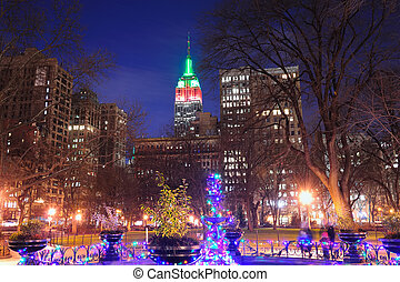 New York City Christmas - New York City Madison Square park...
